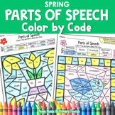 Parts of Speech Color by Code SPRING Grammar Worksheets