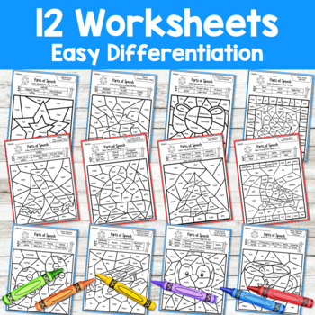 Parts of Speech Color by Code Winter Grammar Worksheets