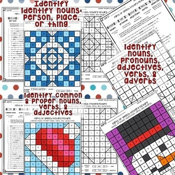 WINTER Color by Parts of Speech Grammar Mystery Pictures with Worksheets
