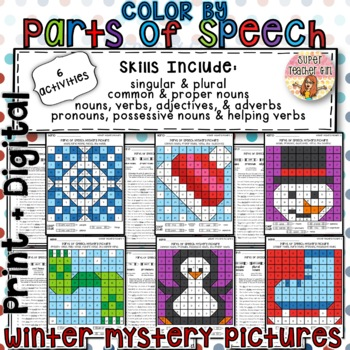 photo relating to Parts of Speech Printable named Wintertime Colour by way of Components of Speech Grammar Top secret Pics with Worksheets