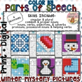 Color by Parts of Speech Winter Mystery Pictures with Worksheets
