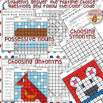 WINTER Color by Parts of Speech Grammar Mystery Pictures with Task Cards