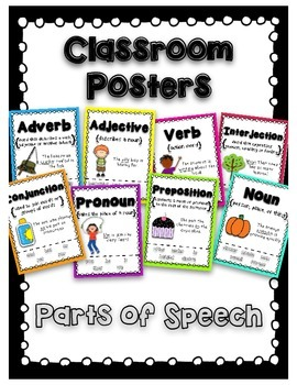 Parts of Speech- Colorful Classroom Poster Set