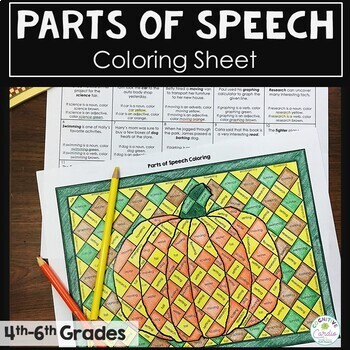 Parts Of Speech Coloring Activity Tpt