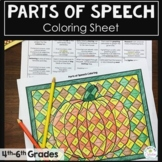 Fall Coloring Page Parts of Speech Coloring