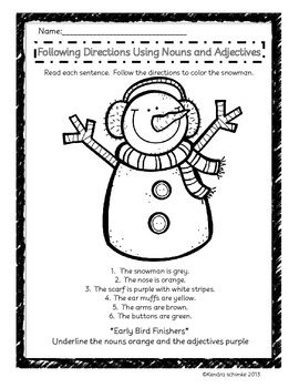 Parts of Speech Coloring Pages: Winter Grammar Edition