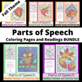 Parts of Speech Coloring Pages and Readings - Fall Theme