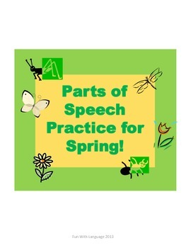 Parts of Speech Common Core Practice for Spring Task Cards