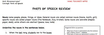Parts of Speech Comprehensive Review