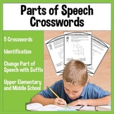 Parts of Speech Crossword Activities for Upper Elementary