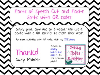 Parts of Speech Cut and Paste Sort with QR Codes