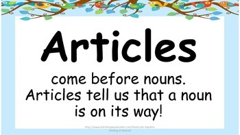 Parts of Speech Definition Posters- Great for Literacy Center
