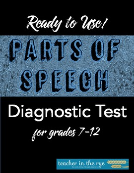 Parts of Speech Diagnostic Test for MS or HS Beginning of Year!