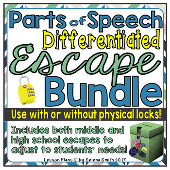 Parts of Speech Differentiated Escape / Lock Box Bundle