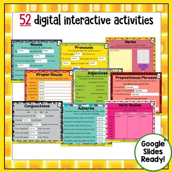 Parts of Speech Grammar Digital Task Cards Paperless Google Drive® Resource