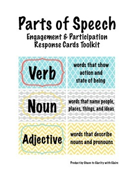 Parts of Speech Engagement and Participation Response Cards Toolkit
