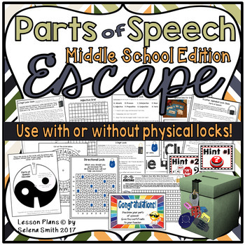 Parts of Speech Escape Room / Lock Box for Middle School