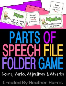 Parts of Speech File Folder Game
