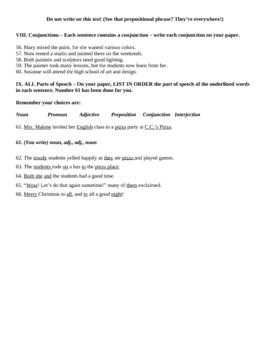 Parts of Speech Final Test