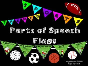 Parts of Speech Flag Banner/Poster:Sports Themed