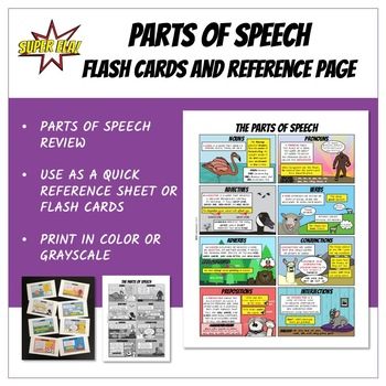 Parts of Speech Flash Cards and Reference Page