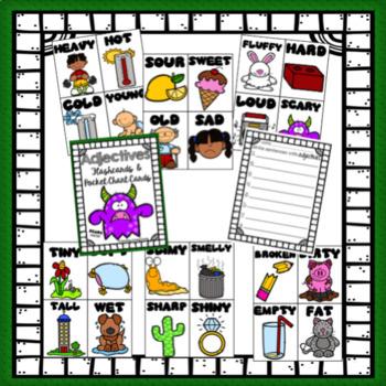 Parts of Speech Flashcards BUNDLE - Nouns, Verbs, Adjectives