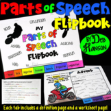 Parts of Speech Flipbook with Worksheets   PDF and Digital  