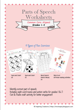 Parts of Speech Fun Activity Printables