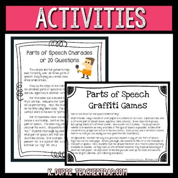 Parts of Speech Games and Activities
