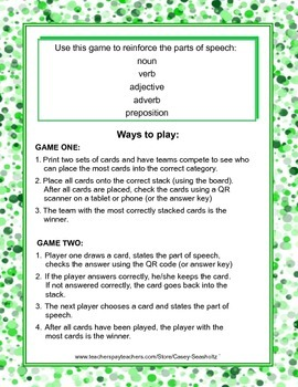 Parts of Speech GAME: Nouns, Verbs, Adjectives, Adverbs, Prepositions - QR Codes