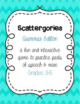 Parts of Speech Game : Scattergories