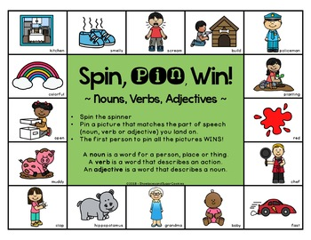 Parts of Speech Game ~ Spin, Pin, Win!