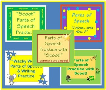 Parts of Speech Grammar Bundle of Games and Task Cards Nou