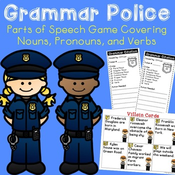 Parts of Speech Game and Quiz {Grammar Police - Nouns, Pronouns, & Verbs}