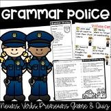 Parts of Speech Game and Quiz {Grammar Police - Nouns, Pronouns, & Verbs}
