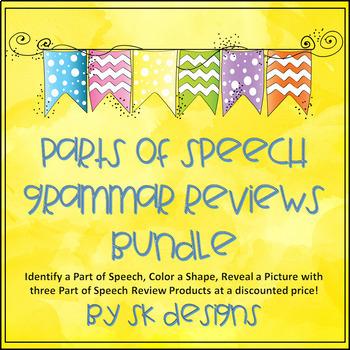 Parts of Speech Fun Grammar Picture Review & Practice Bundle of 3