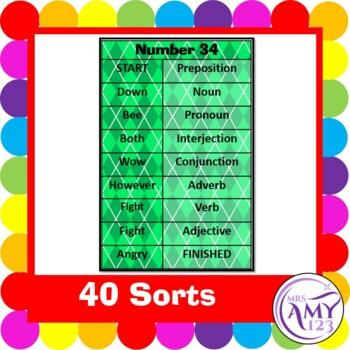 Parts of Speech (Grammar) Sorting Strips