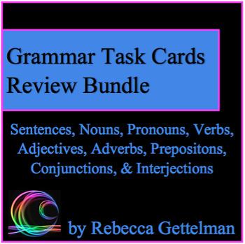 Parts of Speech Grammar Stations Review Task Card Activity BUNDLE