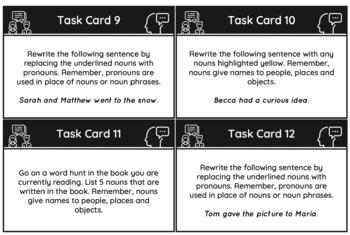 Parts of Speech Grammar Task Cards