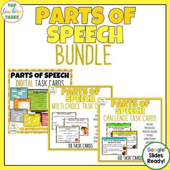 Parts of Speech Grammar Task Cards PLUS Digital Task Cards BUNDLE