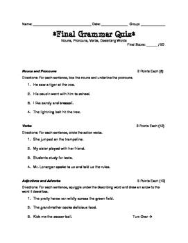 Parts of Speech Grammar Test