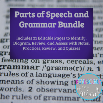 Parts of Speech - Grammar Units: Identify, Diagram, Review, and Test