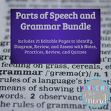 Parts of Speech - Grammar Bundle: Identify, Diagram, Review, and Test