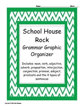 Parts of Speech Graphic Organizer for School House Rock grammar