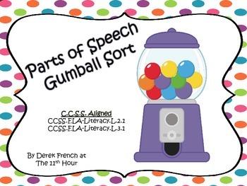 Parts of Speech Gumball Sort