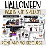 Parts of Speech Halloween Theme Nouns Adjectives Verbs
