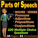 Parts of Speech High School English Grammar Worksheets. 9th-10th Grade Test Prep