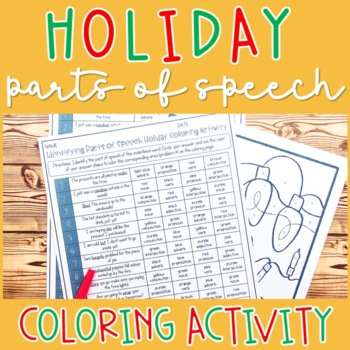 Identifying Parts of Speech Holiday Coloring Activity