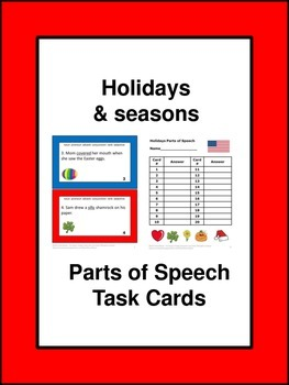 Parts of Speech Review and Practice Task Cards