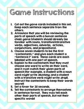 Parts of Speech Review Game Freebie